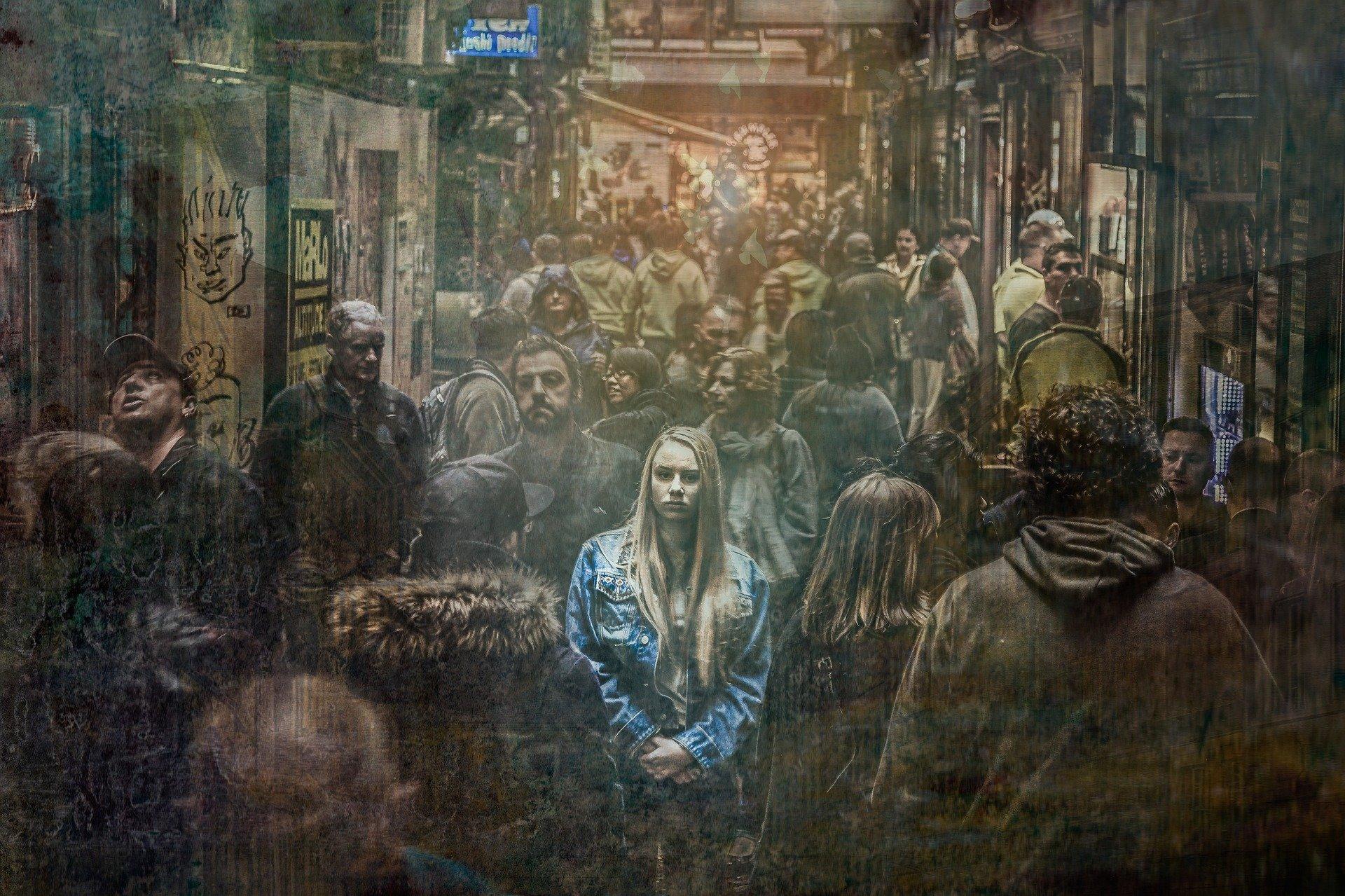 街の中の女
